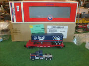 Lionel Trains No. 39442 Wellspring Flatcar With Tractor Trailer - Very Nice
