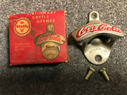 Vintage Coca-cola Stationary Wall-mounted Bottle Opener Nos.