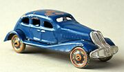 Vintage Pre War Japanese Tin Wind Up Toy Car 6 Inches Long