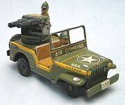 Vintage Tin Friction Air Command Jeep -- Japan