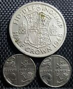 1948 Uk Gb Half Crown Coin And2010 5 Pence Coin 2pcs F +free 1coin D2513
