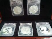 Silver 25th Anniversary 5- Coin Eagle Set Highest Investment Grade