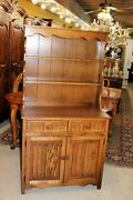 English Oak Wood Brothers Cabinet / Welsh Cabinet / Display Plate Rack