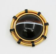 Large Victorian Banded Agate 14k Gold And Enamel Sentimental Brooch Pin
