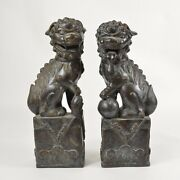 Pair Large Male And Female Asian Bronze Foo Dog Statues