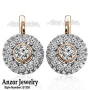 14k Solid Rose And White Gold Diamond And White Sapphire Russian Style Earrings.