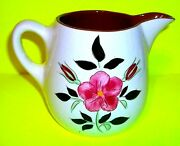 Stangl Creamer White Brown Pink Floral Pottery Pitcher Garland Hand Paint Vase 3
