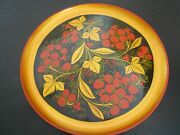 Vintage Russian Hand Painted Platter/plate Strawberry Theme 12 Diam. Gold, Red,