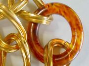 Vintage Gold Chain And Tortoise Shell Rootbeer Swirl Bakelite Oval Link Necklace