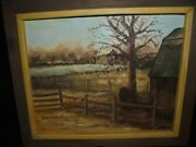 Painting Old Farm Mill Stone Walls Tree Landscape Signed N E Johnson Pine Frame