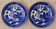 Pair Of Vintage Mid-20th Century Blue Willow 6 Saucers / Dishes - Made In Japan