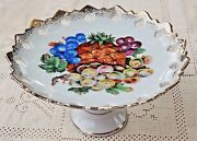 Vintage 1950's Thames Hand Painted Ceramic Pedestal Compote Dish - Made In Japan