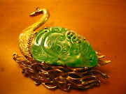 Chinese Antique 14k Gold Carved Jade Ruby Swan Pin Brooch