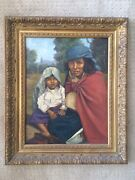 19th C. Mexican School Oil Painting Signed Chihuahua People Seguado Endara Art