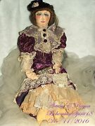 Arturo E. Reyna Victorian Maiden Lace And Velvet Dress Human Hair Signed Rag Doll