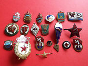 Mix Of 19 Soviet Russian Cccp Ussr Army And Youth Etc Vintage Pin Badges