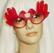 Anglo American Optical Doves Clear Red Frame Eyeglasses England Rare Collectible