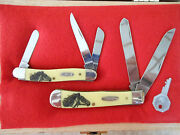 Case- Xx Knives - Wild Mustang On Special Yelo Trapper And Stockman In Display