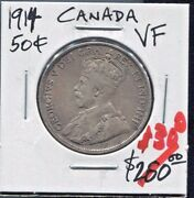 Canada - Beautiful Scarce George Vi Silver 50 Cents 1914 Km 25 Best Date