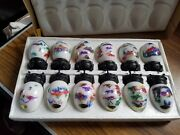 Lot Of 12 Vintage Marble Art Craft Eggs With Stands Original Bos