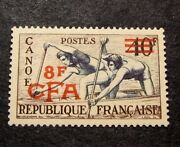 Reunion Stamp Scott 299 Surcharged Canoeing 1954 Mnh C401