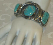 Vintage Old Pawn Ornate Heavy Silver Turquoise Nugget Cuff Bracelet Marked R