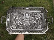 Antique Indian Silver Tray. Karcahi Or Kutch.1900. 931gms. 47 X 25 Cms.