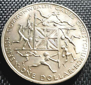 1974 New Zealand British C'weath Game Commemorative Coin Unc+free 1 Coind6638