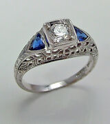 Diamond And Sapphire Ring 18ktw Gold 1.04cttw 0.39ct Center Model Gc5065