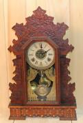 Antique Gilbert And039geraniumand039 8 Day Oak Parlor Clock Time Strike And Alarm