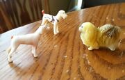 Vintage Lot Of 3 Hong Kong White And Multi-color Plastic, Toy Dogs 1 3/8