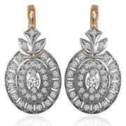 14k Rose And White Gold Genuine 2.30 Carats Diamond Russian Style Earrings E1409
