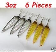 3oz Casting 3 Gold And 3 Silver Crocodile Spoons Fishing Lures 6 Pieces