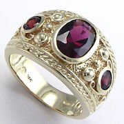 Etruscan Byzantine Style Menand039s Garnet Ring 14k Size 6 To14 R642