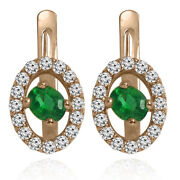 Russian Syle Earrings Genuine Emerald And Diamond 14k Solid Rose Gold E1407
