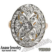14k Solid Rose And White Gold Genuine Diamond Ring Russian Style Jewelry R1593