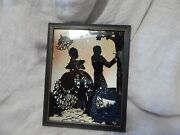 Vintage Reverse Painted Silhouette Picture With Glitter Background 9 X 7
