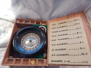 Vintage Miniature Roulette Set With Felt And Tokens Casino