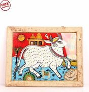 Old Vintage Cow Wooden Hand Made Beads Photograph Framed Collectible 6074
