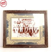 Old Vintage Group Of Men Wooden Framed Black And White Photograph Collectible 6109