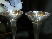 Antique Sterling Silver Matching Pair Of Vases