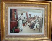 6500 Rare Important Orig Nyc Estate French Painting People On Yacht Painting