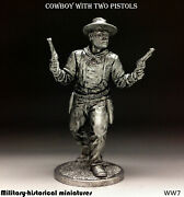 Tin Toy Soldiers Cowboy With Two Pistols 54 Mm 1/32 Metal Sculpture