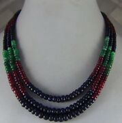 342cts Natural Ruby Emerald Sapphire Multi Strand Faceted Beads Necklace