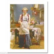 Pino Warm Memories In Apron Cooking Giclee Canvas Hand Signed/ Coa Size 44x34