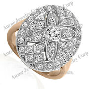 18k Solid Rose White Gold Genuine Diamond Hand Made Ring Russian Style Jewelry