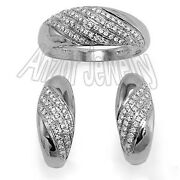 Russian Style Jewelry 14k Solid White Gold Pave Diamond Ring And Earrings Set S211
