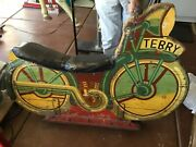 1940and039s Vintage Original Hand Carved Wooden Carousel Motorcyle
