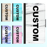 For Iphone 12 11 Pro Max X Leather Flip Wallet Case Marble Viii Custom Name Text