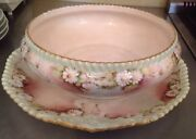 T And V Limoges France Hand Painted Daisy Flowers Large Bowl And Under Tray Chip